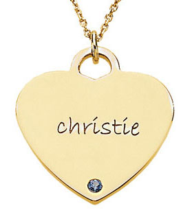 Picture of Heart Shaped Engravable Pendant with Stone