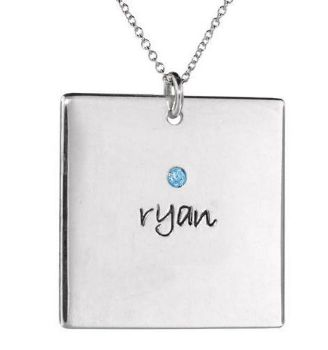 Picture of 1 Name Square Pendant with Stone