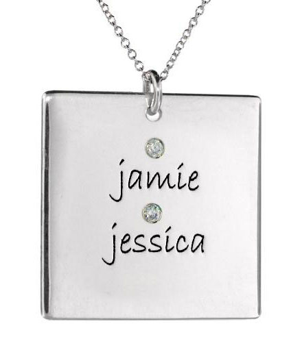 Picture of 2 Names Square Pendant with Stones