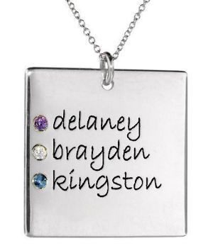 Picture of 3 Names Square Pendant with Stones
