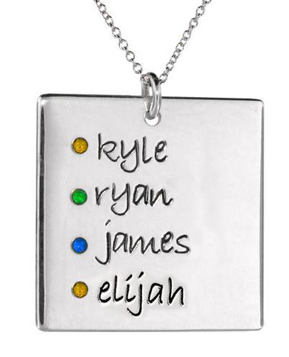 Picture of 4 Names Square Pendant with Stones