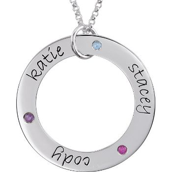 Picture of 3 Names Engravable Loop with Stones