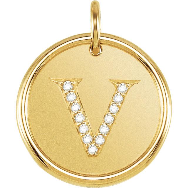 Picture of Initial V, Roxy Diamond Pendant