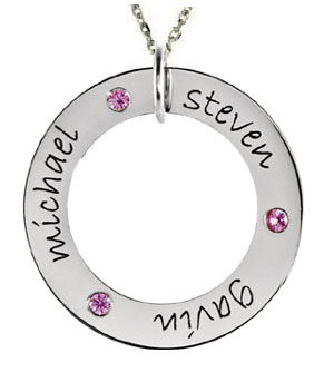 Picture of 3 Names Engravable WEE Loop with Stones