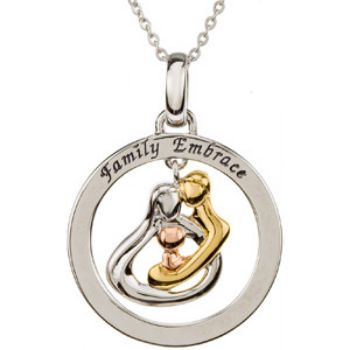 Picture of Tri-Color Embrace by the Heart Family Circle Necklace