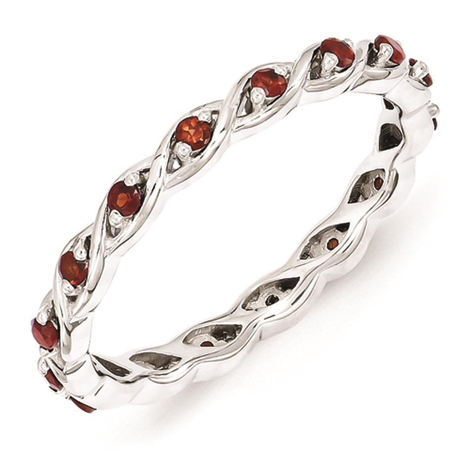 sterling silver stackable ring garnet birthstones. Black Bedroom Furniture Sets. Home Design Ideas