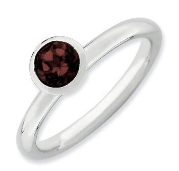 Picture of Silver Ring Round 5 mm Swarovski Garnet stone
