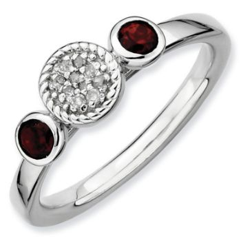 Picture of Silver Ring Garnet & Diamond stones