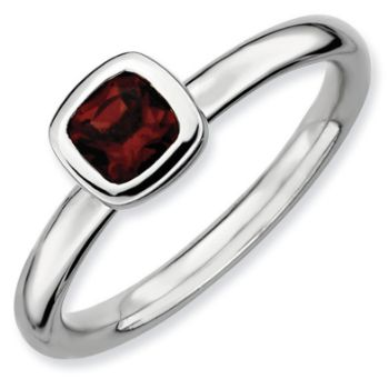 Picture of Silver Ring Cushion Cut Garnet stone