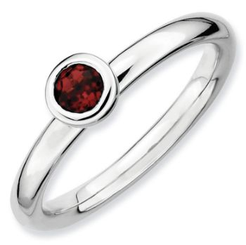 Picture of Silver Ring Low Set 4 mm Garnet stone