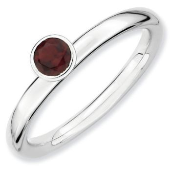Picture of Silver Ring High Set 4mm Garnet stone