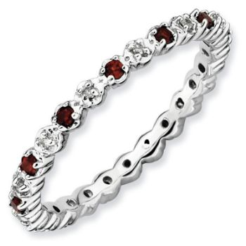 Picture of Silver Ring Garnet & Diamond stones