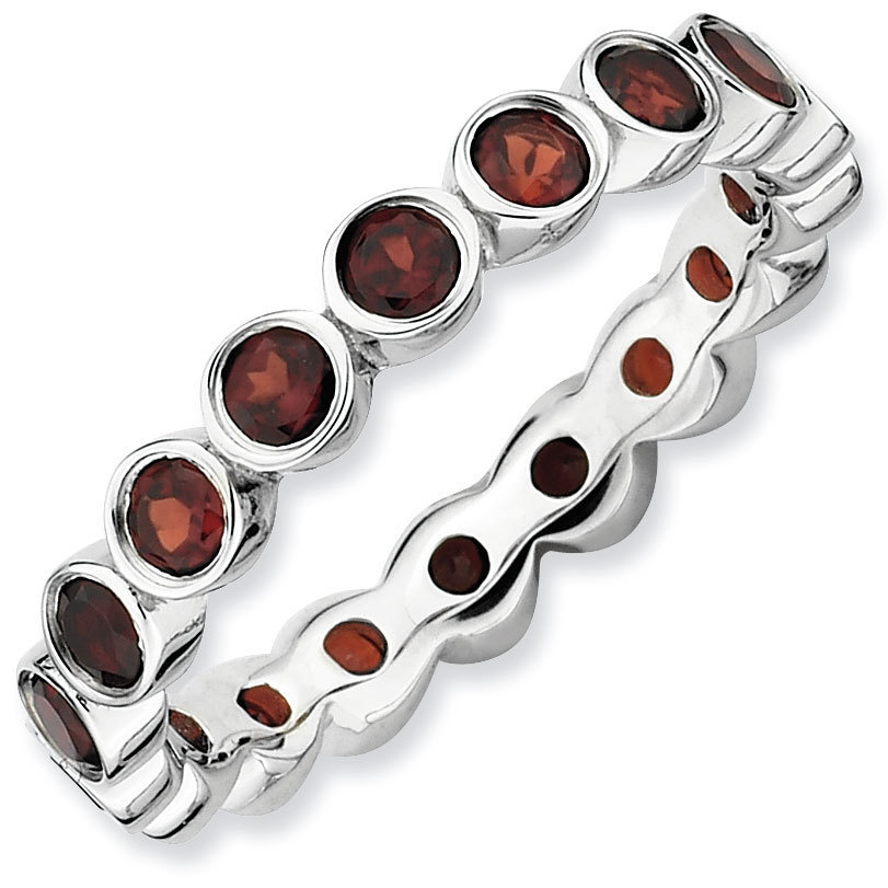 Picture of Silver Stackable Ring Garnet stones