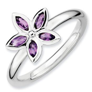 Picture of Silver Flower Ring Amethyst Stones