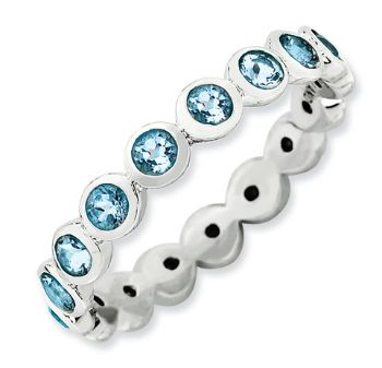 Picture of Silver Ring Round Swarovski Aquamarine stones