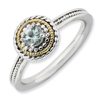 Picture of Silver Ring Round Aquamarine stone