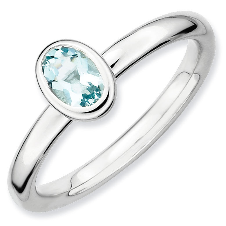 Picture of Silver Ring Oval Shaped March Aquamarine stone