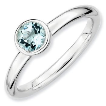 Picture of Silver Ring 5 mm Low Set Round Aquamarine stone