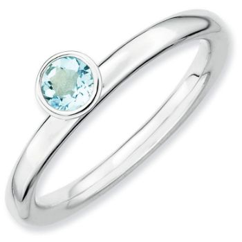 Picture of Silver Ring 4 mm High Set Round Aquamarine stone