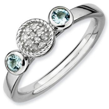 Picture of Silver Ring Aquamarine & Diamond accent stones