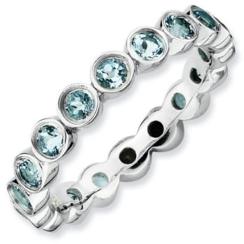 Picture of Silver Stackable Ring Aquamarine stones