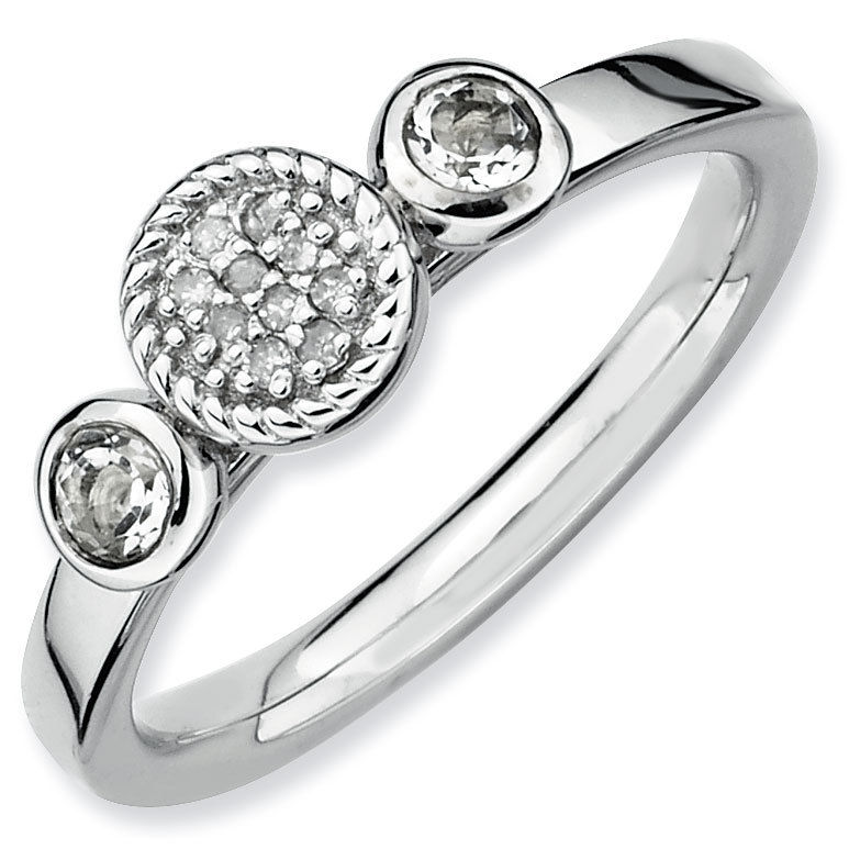 Picture of Silver Ring White Topaz & Diamond stones