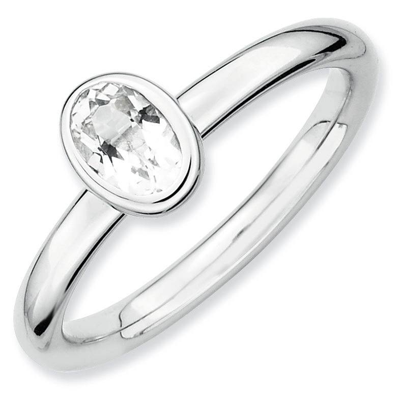 Picture of Silver Ring Oval Shaped White Topaz stone