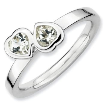 Picture of Silver Ring 2 Heart Shaped White Topaz stones