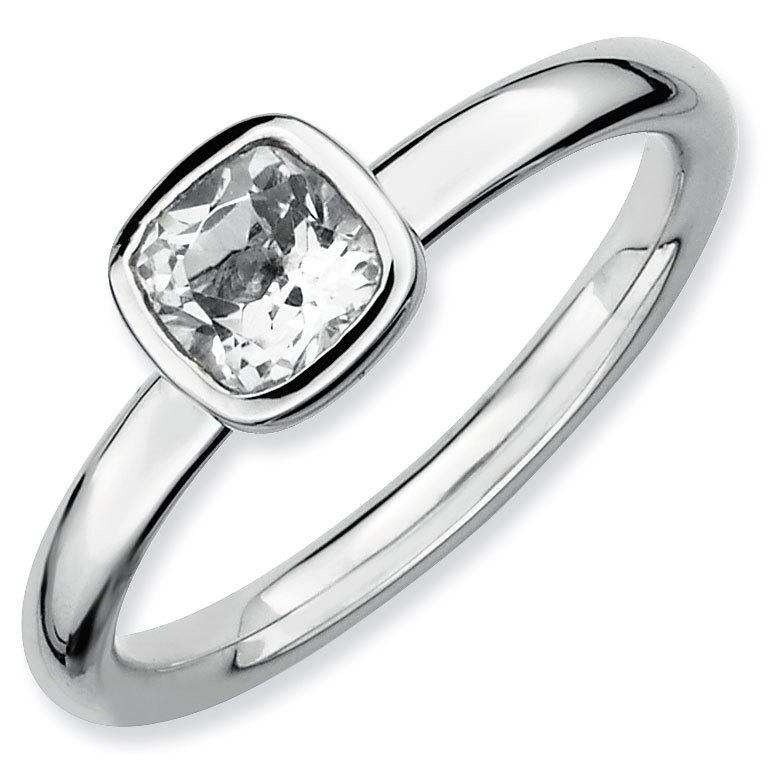 Picture of Silver Ring Checker-Cut White Topaz stones