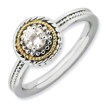 Picture of Silver Ring Round Shaped White Topaz stones