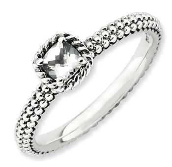Picture of Antiqued Silver Ring Checker-Cut White Topaz stones