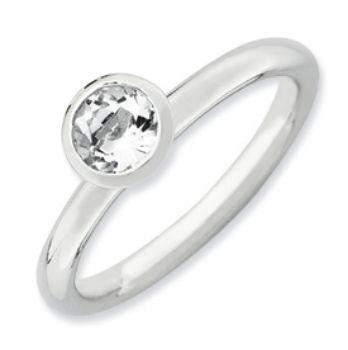Picture of Silver Ring Round Swarovski White Topaz stone