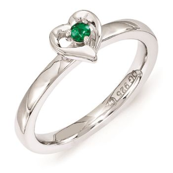 Picture of Silver Stackable Heart Ring Created Emerald stone