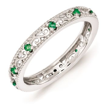 Picture of Silver Ring Created Emerald stones