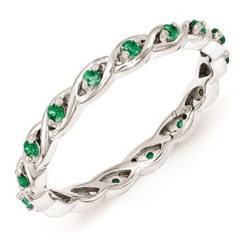 Picture of Sterling Silver Ring Created Emerald stones