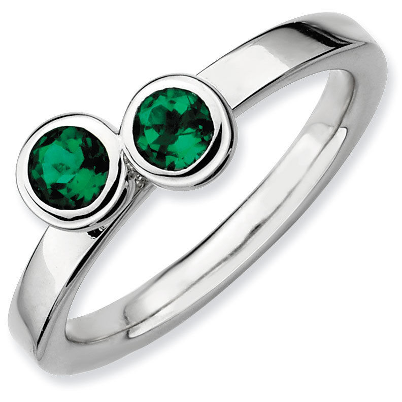 Picture of Silver Ring 2 Round Created Emerald stones