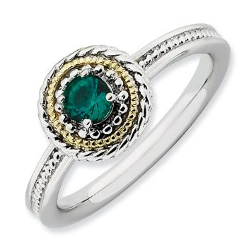 Picture of Silver Ring Created Emerald stone 14K Gold Accent