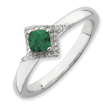 Picture of Silver Ring Created Emerald & Diamond stones