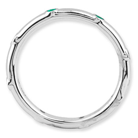 Picture of Silver Stackable Ring Created Emerald stones