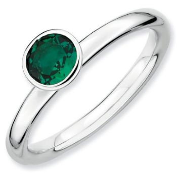 Picture of Silver Ring 5 mm High Set Created Emerald stone
