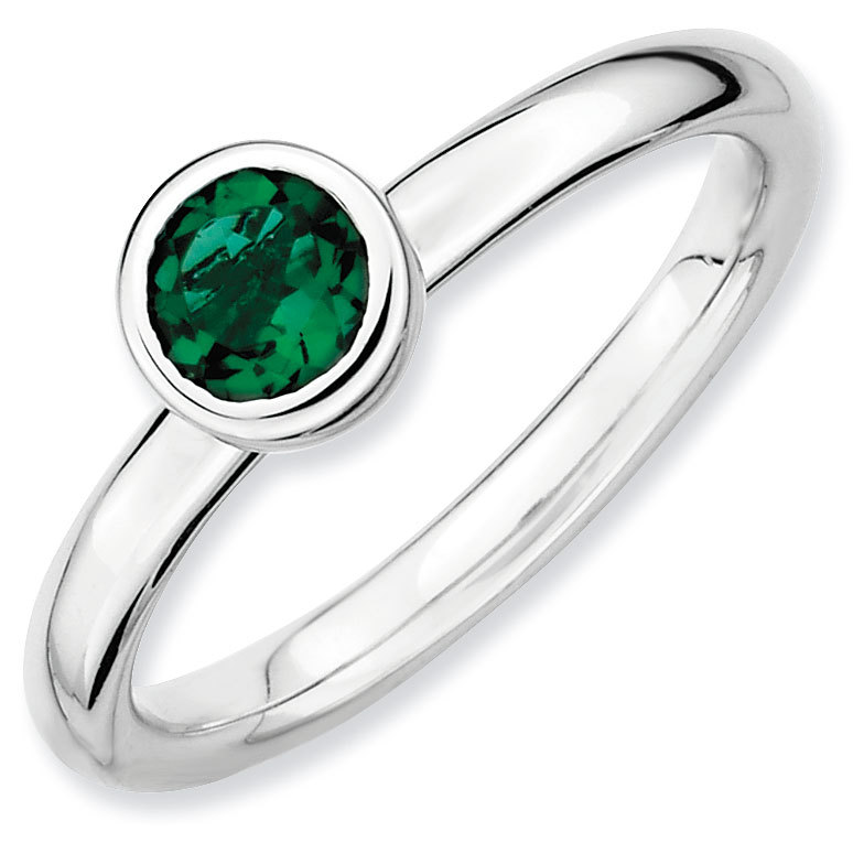 Picture of Silver Ring 5 mm Low Set Created Emerald stone