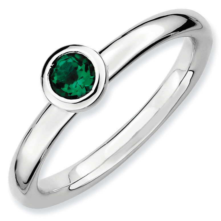 Picture of Silver Ring 4 mm Low Set Created Emerald stone