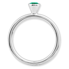 Picture of Silver Ring 4 mm High Set Created Emerald stone