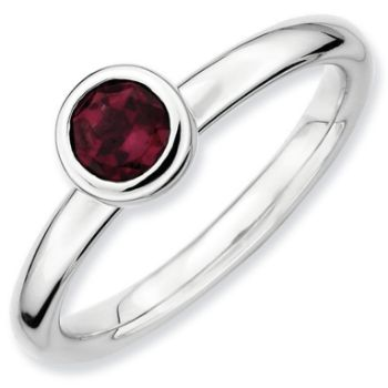 Picture of Silver Ring Round 5 mm Low Set Rhodolite Garnet Stone
