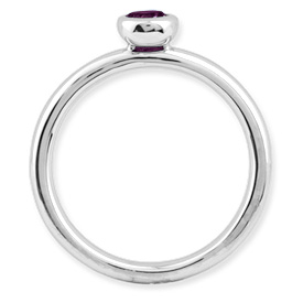 Picture of Silver Ring Round 4 mm Low Set Rhodolite Garnet Stone