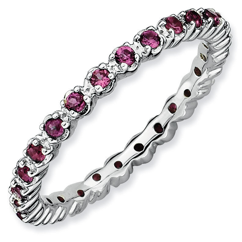 Picture of Silver Stackable Ring Round Rhodolite Garnet Stones