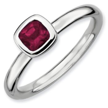 Picture of Silver Ring 1 Cushion-Cut Rhodolite Garnet Stone