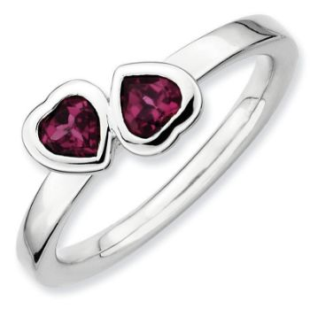 Picture of Silver Ring 2 Heart Rhodolite Garnet Stones