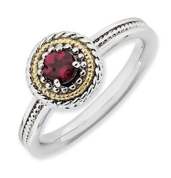 Picture of Silver Stackable Ring 1 Round Rhodolite Garnet
