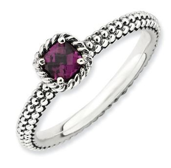 Picture of Silver Ring Checker-cut Rhodolite Garnet Antiqued